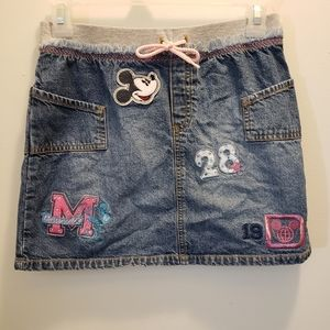 Disney Mickey Mouse Embroidered Patch Denim Skirt